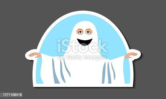 istock Sticker kid dressed as a ghost for a carnival halloween party. Costume  white fabric with holes for  eyes and drawn smile. Avatar for social media. Stock vector flat illustration isolated on white.illustration isolated on white background 1271106418