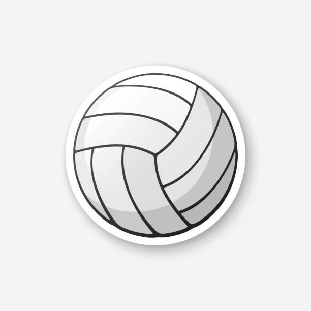 Bola de voleibol de cuero de la etiqueta engomada - ilustración de arte vectorial