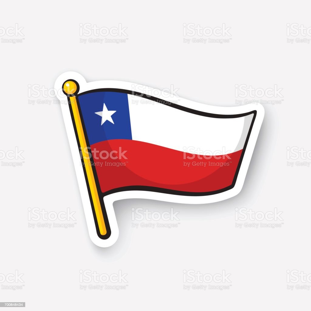 Bandera nacional pegatina de Chile - ilustración de arte vectorial