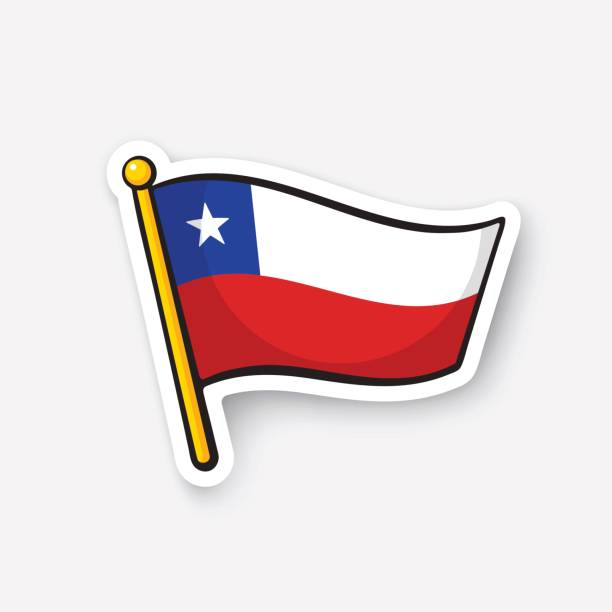 sticker national flag of chile - chile flag stock illustrations, clip art, cartoons, & icons
