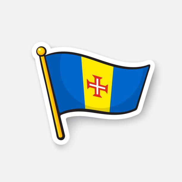 ilustrações de stock, clip art, desenhos animados e ícones de sticker national flag of madeira - funchal madeira