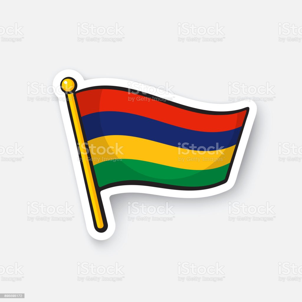 Sticker national flag of Mauritius vector art illustration