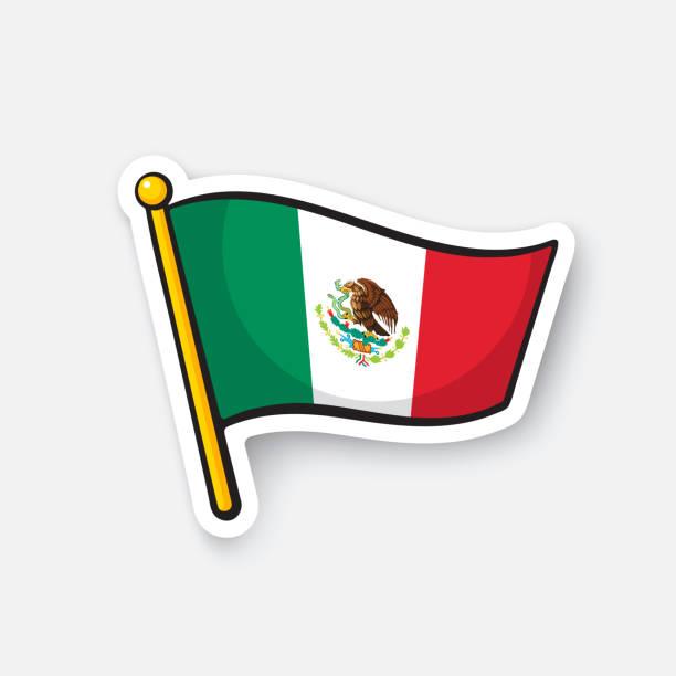 Bandeira nacional da etiqueta do México - ilustração de arte em vetor