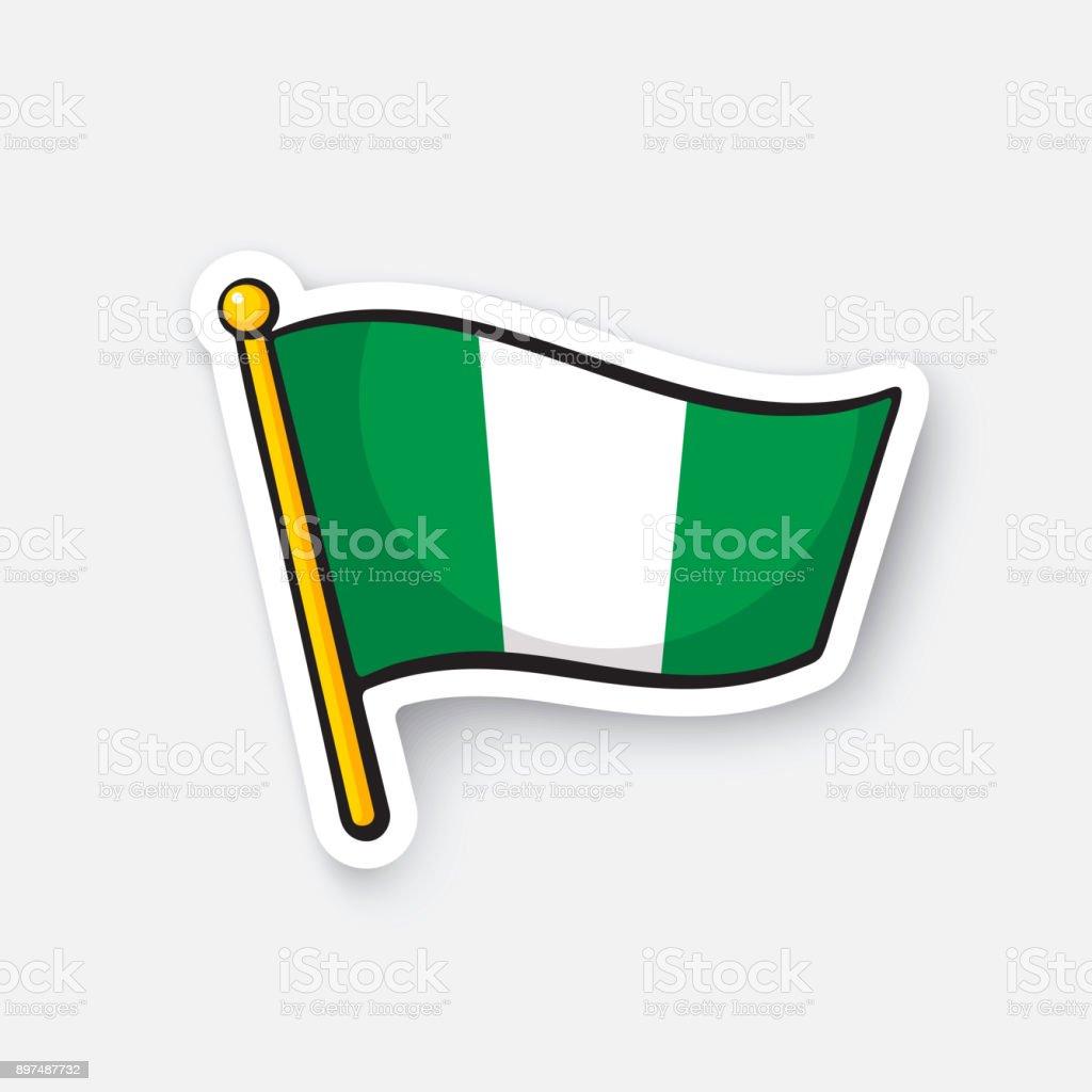 Sticker national flag of Nigeria vector art illustration