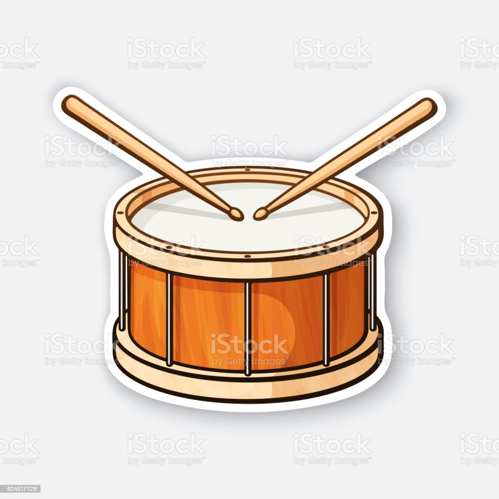 Sticker Of Classic Wooden Drum With Drumsticks Stock Vector Art ...