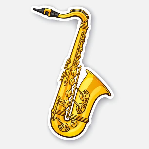 sticker of classical music wind instrument saxophone - klarnet stock illustrations