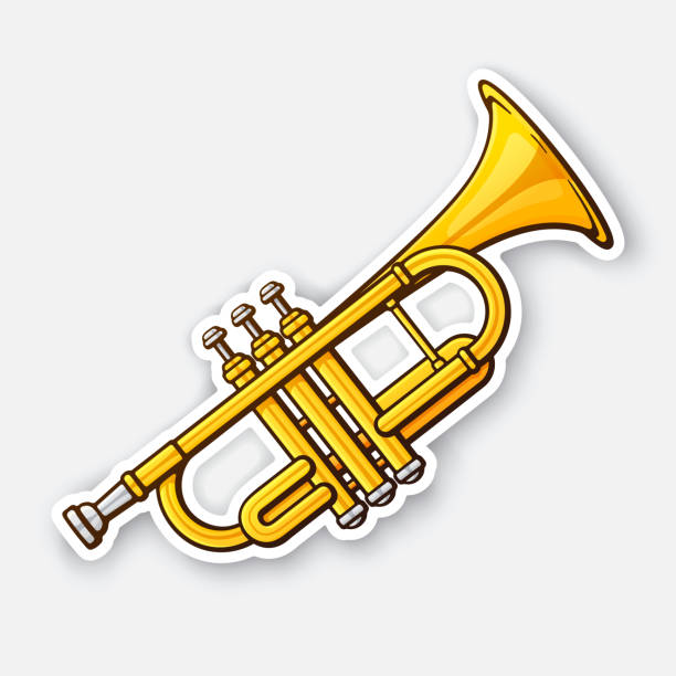 Sticker of classical music wind instrument trumpet vector art illustration