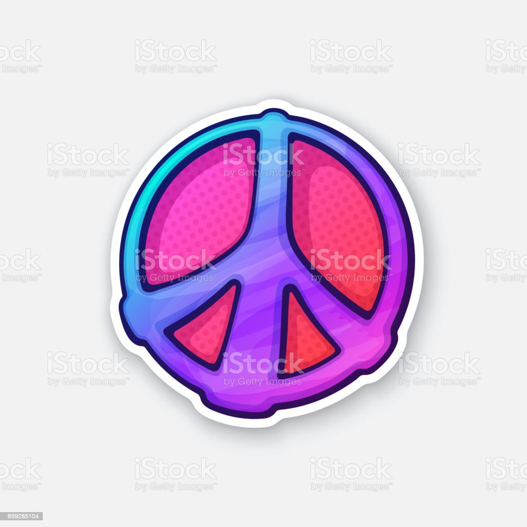Sticker of hippies colorful symbol of peace vector art illustration