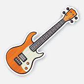 Vector illustration. Classical wooden rock electro or bass guitar. String plucked musical instrument. Rock, blues, ska or jazz equipment. Sticker with contour. Isolated on white background