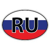 Sticker on car, flag of Russia