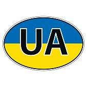 Sticker on car, flag of Ukraine