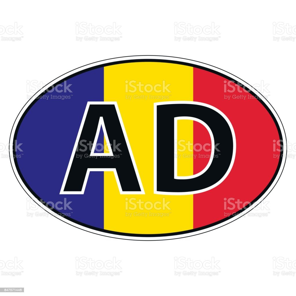 Sticker on car, flag principality Andorra vector art illustration