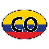 Sticker on car, flag Republic Colombia