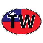 Sticker on car, flag Taiwan, Chinese Republic