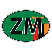 Sticker on car, flag Zambia