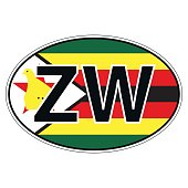 Sticker on car, flag Zimbabwe
