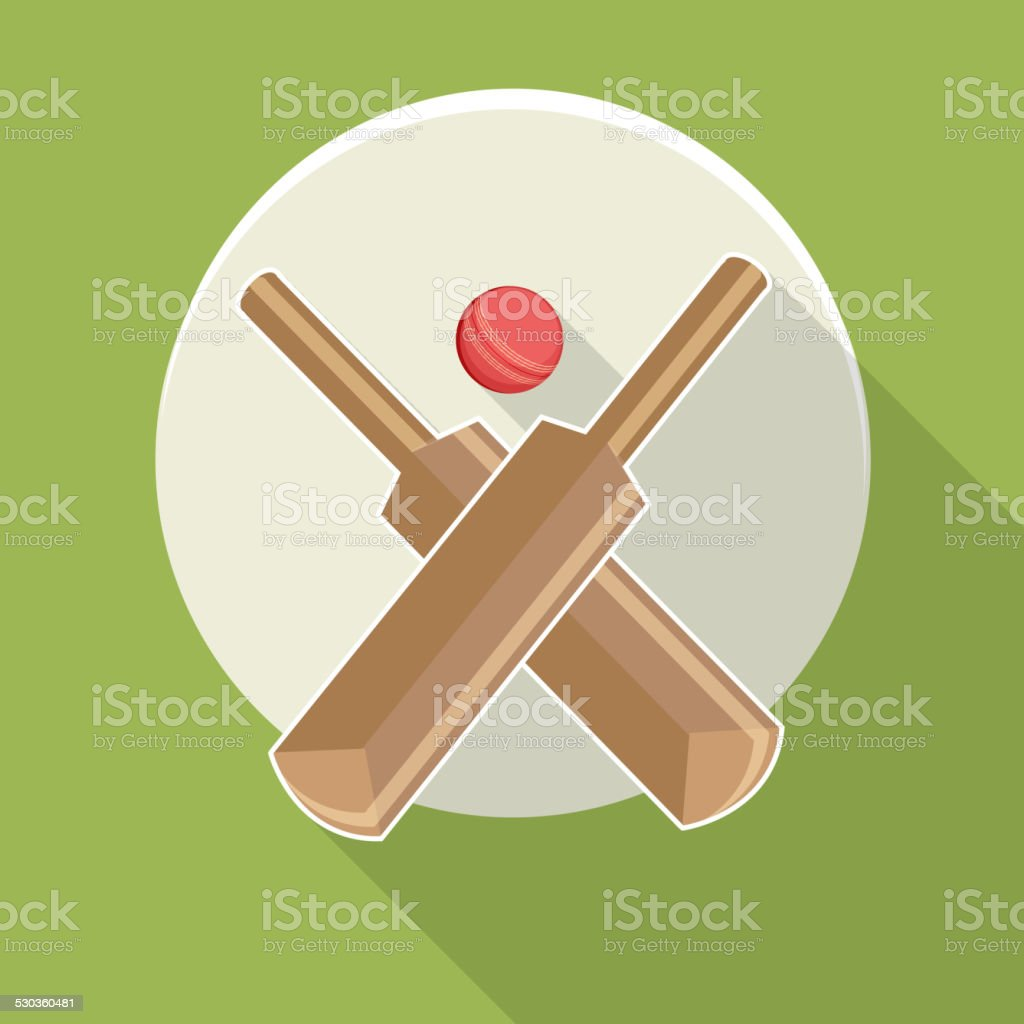 Sticker or label with bat and ball. vector art illustration