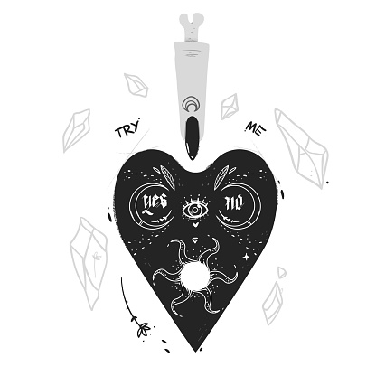 Sticker Ouija vector print for youth. illustration crystal and finger with black nail and bones. Moon and sun decorative elements. goth letters yes and no, and try me slogan. Occult dark side theme