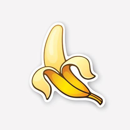Sticker peeled banana