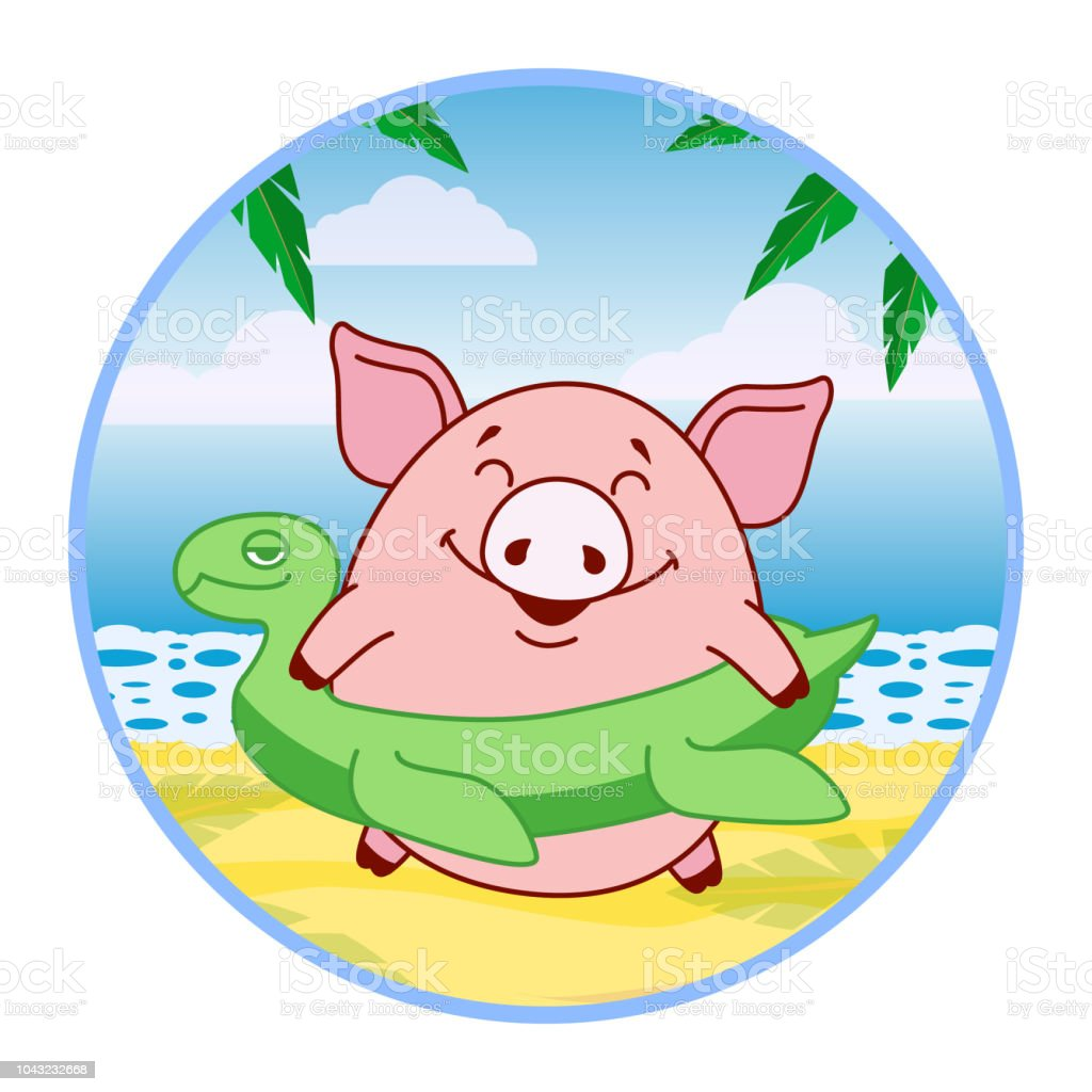 Sticker pig with an inflatable circle in the form of a turtle on a tropical beach