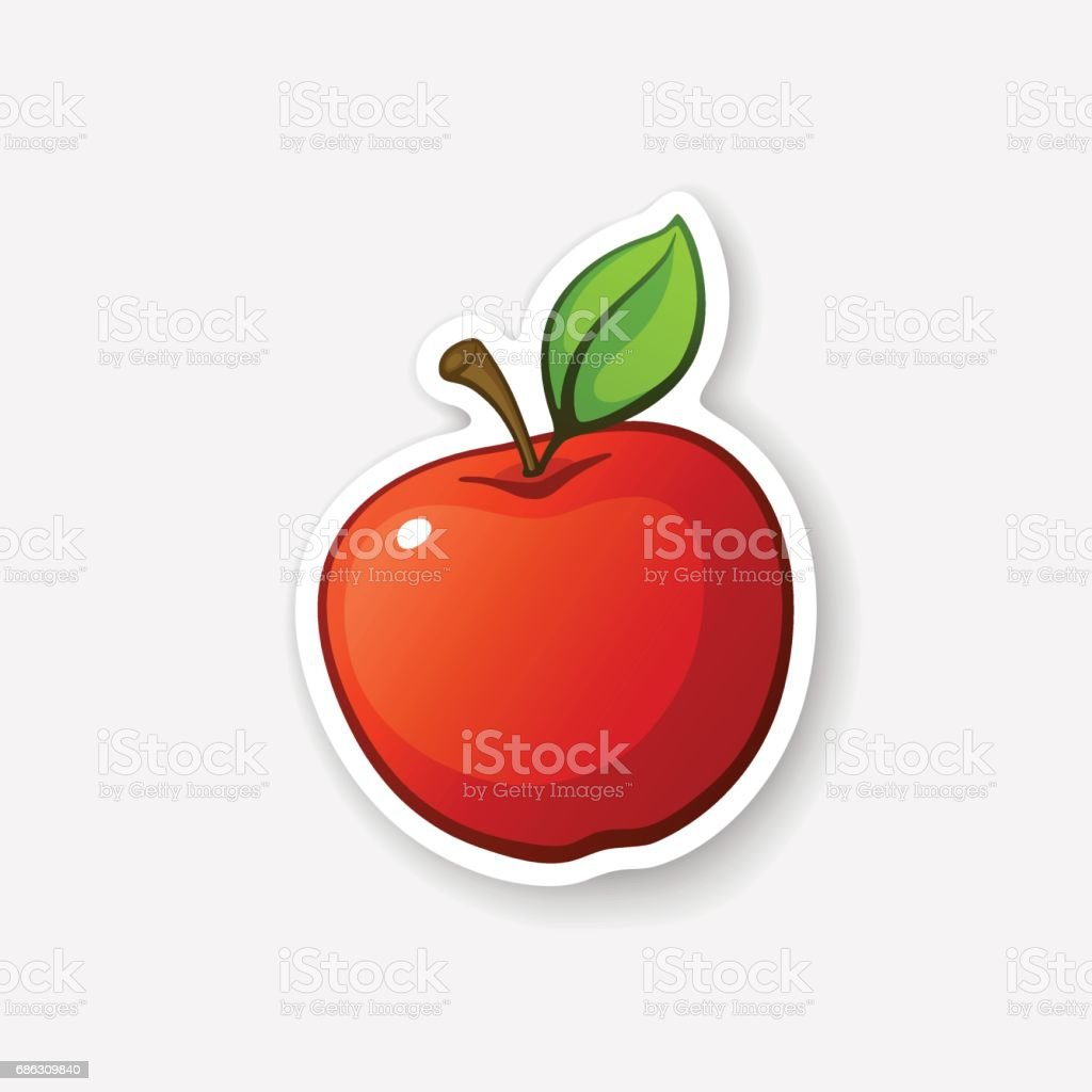 Apple autocollant rouge avec tige - Illustration vectorielle