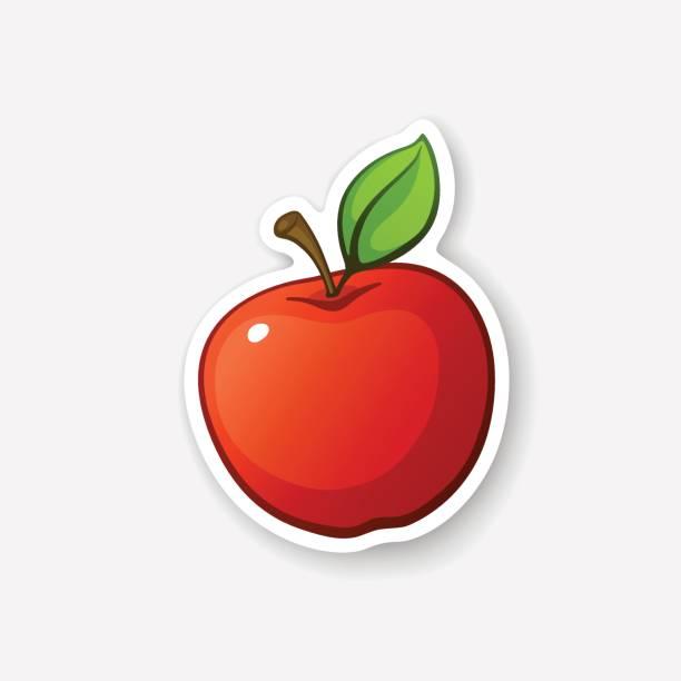 aufkleber roter apfel mit stiel - apple stock-grafiken, -clipart, -cartoons und -symbole