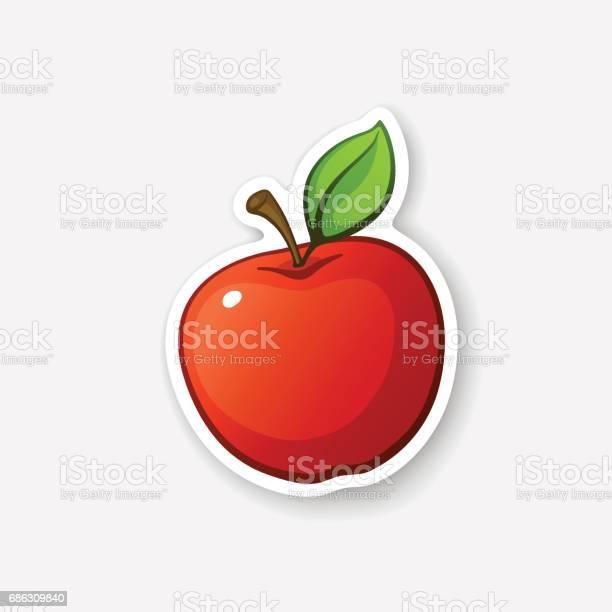줄기와 스티커 레드 애플 0명에 대한 스톡 벡터 아트 및 기타 이미지