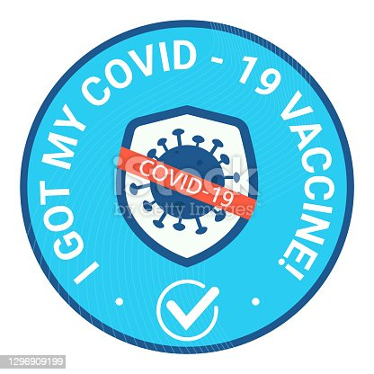 istock Sticker round and bage with text I got may covid vaccine. Shield avoid covid-19 coronavirus 1296909199