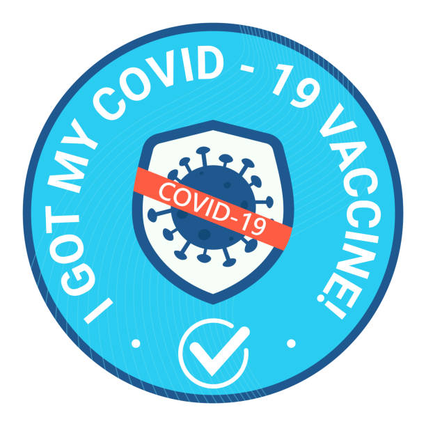 Sticker round and bage with text I got may covid vaccine. Shield avoid covid-19 coronavirus Sticker and bage with text I got may covid vaccine. Shield avoid covid-19 coronavirus vaccine stock illustrations