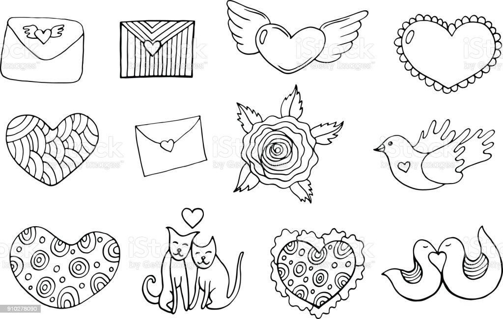Ilustración de Etiqueta Engomada De Valentín Página Para Colorear ...