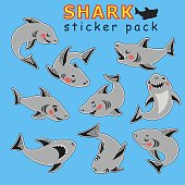 Set of funny cartoon style cute sharks in different poses. Sticker pack. Blue background. Isolated vector elements for your design. Scrapbook and poster decor. Children education.