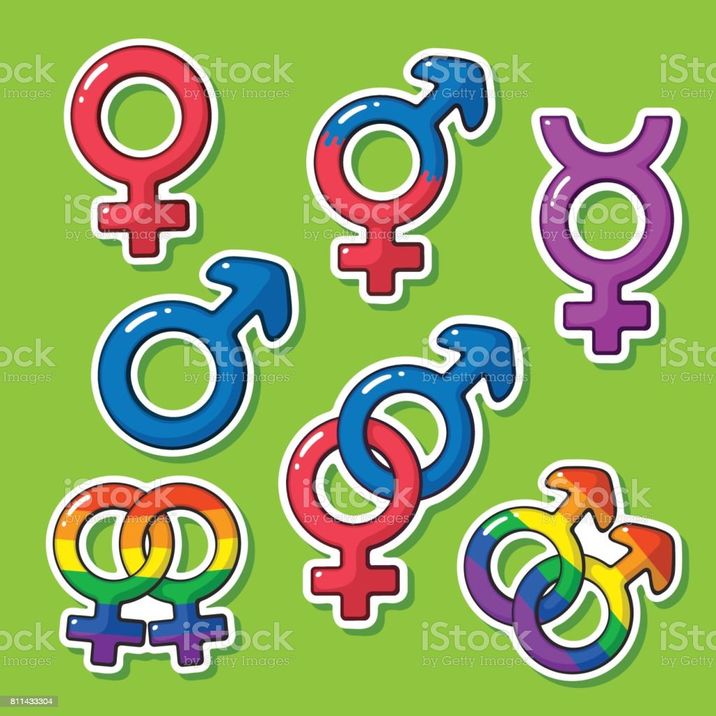 Sticker set of gender symbols with rainbow signs stock vector art sticker set of gender symbols with rainbow signs royalty free sticker set of gender symbols buycottarizona