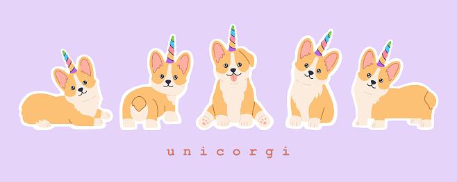 Sticker set of kawaii welsh corgi unicorn with colourful rainbow horn
