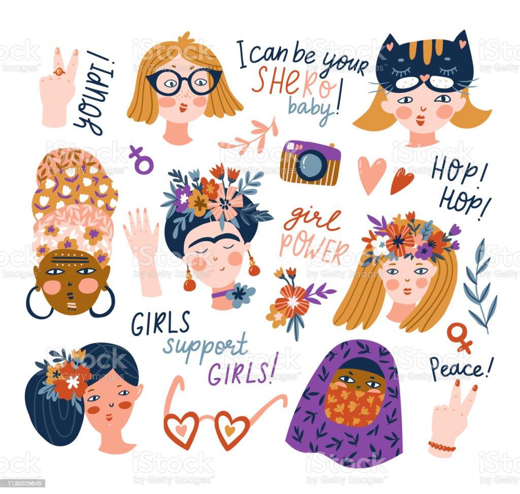 Ensemble Dautocollants De Femmes De Différentes Nationalités