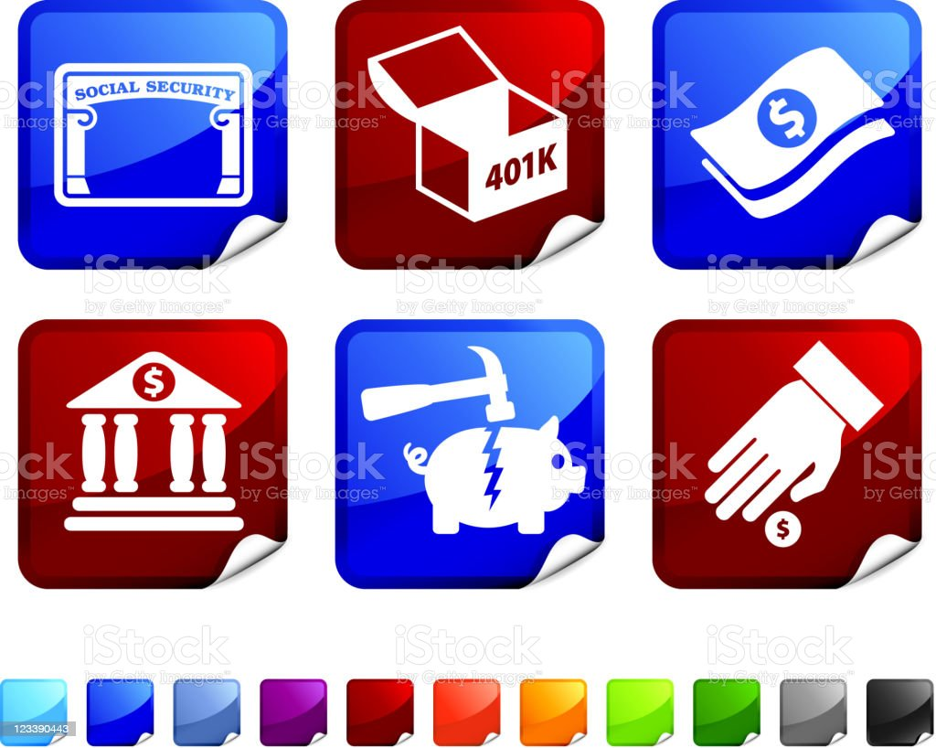 Sticker set referencing financial options royalty-free stock vector art
