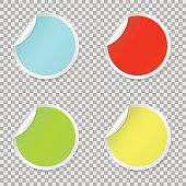 Sticker set, colored blank round stickers collection. Round peel off paper sticker with shadow. isolated on white background. Vector illustration. Eps 10