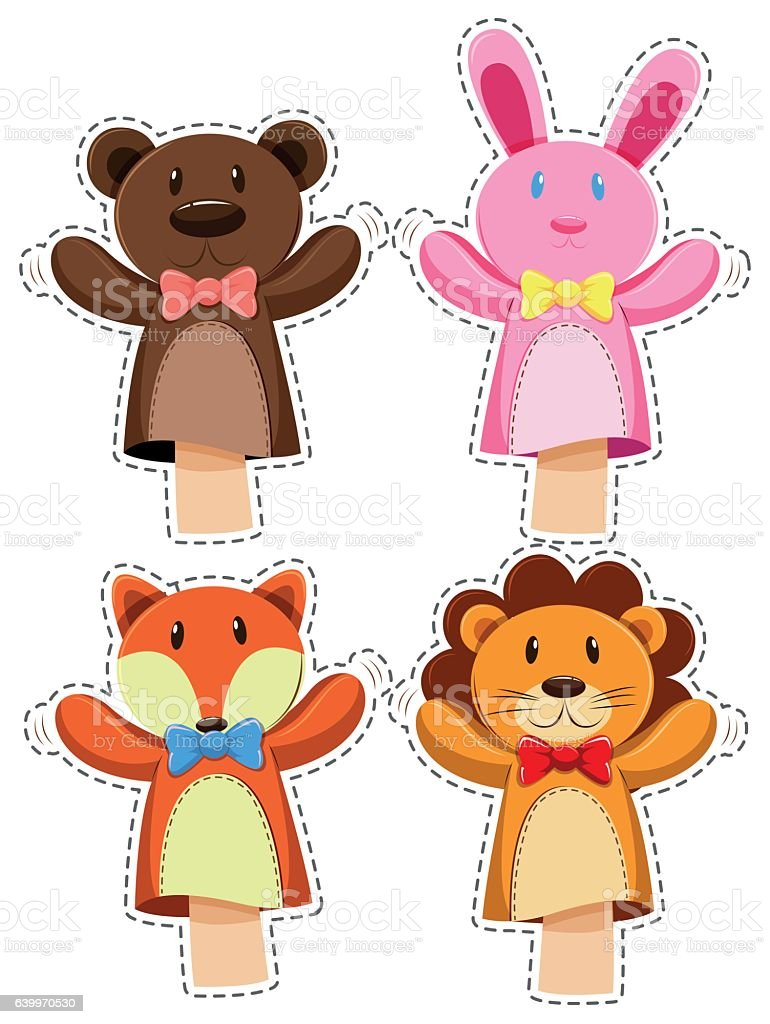 Sticker set with hand puppets vector art illustration