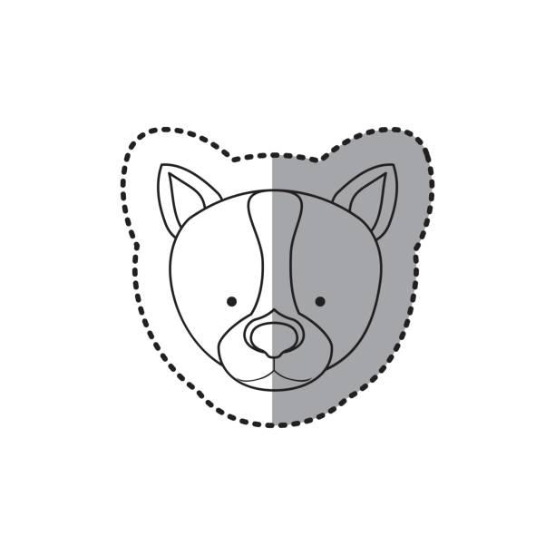 거친 개 동물을 가까이 스티커 실루엣 - 강아지 실루엣 stock illustrations