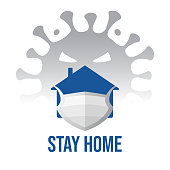 Sticker stay home. Quarantine, self-isolation from the epidemic of coronavirus covid-19. House icon in protective face mask with message stay home for virus protection. Symbol, logo, vector illustration