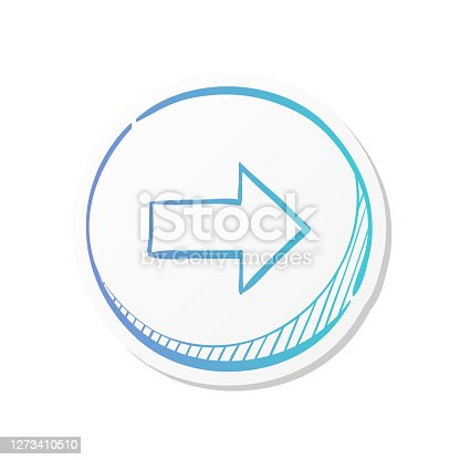 Arrow icon in sticker color style. Direction move forward shopping checkout