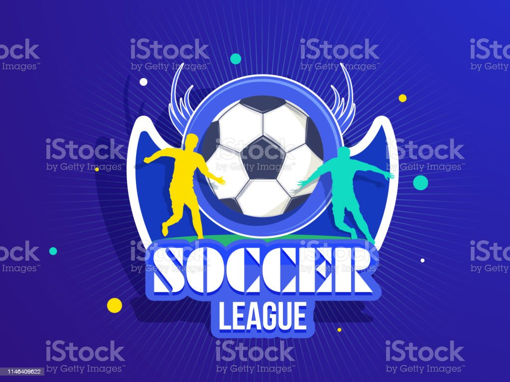 Sticker style soccer badge with silhouette of football players for...