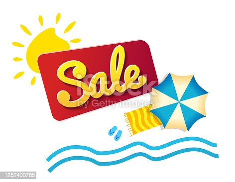 Sticker summer Sale! beach umbrella and waves. Promotion Icon Offer. Discount tags. colorful banners. Vector banner in modern flat style on white.