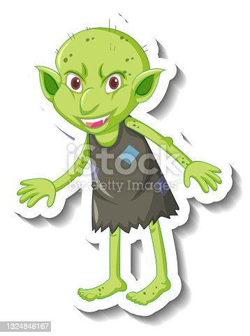 istock A sticker template with a green goblin or troll cartoon character 1324846167