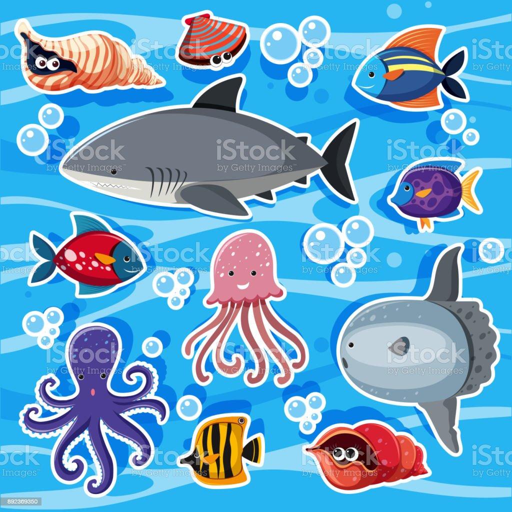 Sticker templates with sea animals underwater illustration