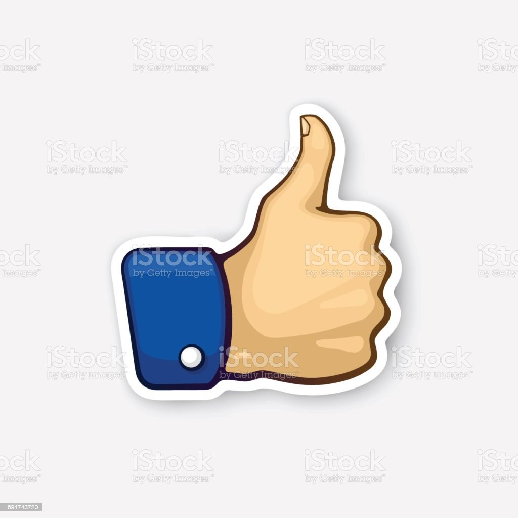 Sticker Thumb Up Symbol Of Like Stock Vector Art More Images Of