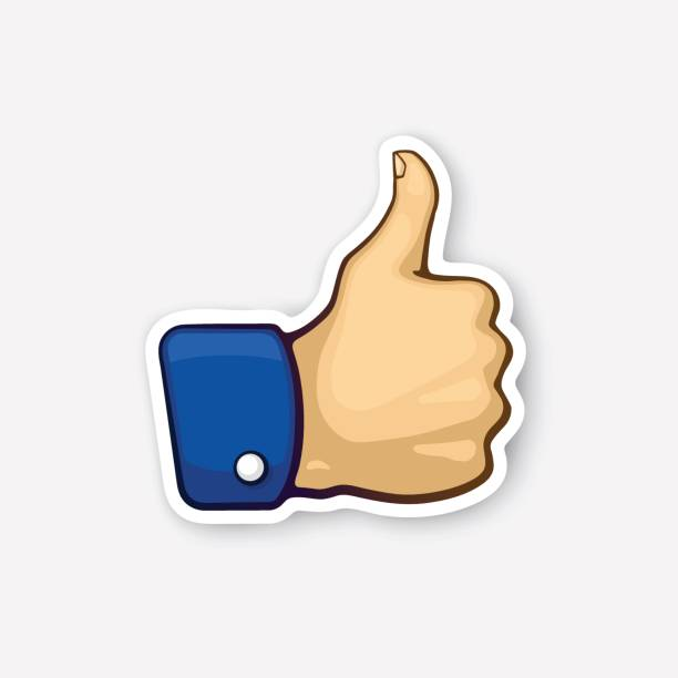 sticker thumb up symbol of like - thumbs up stock illustrations