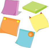 Set of stickers, adhesive colored paper for notes and reminders. Vector illustration