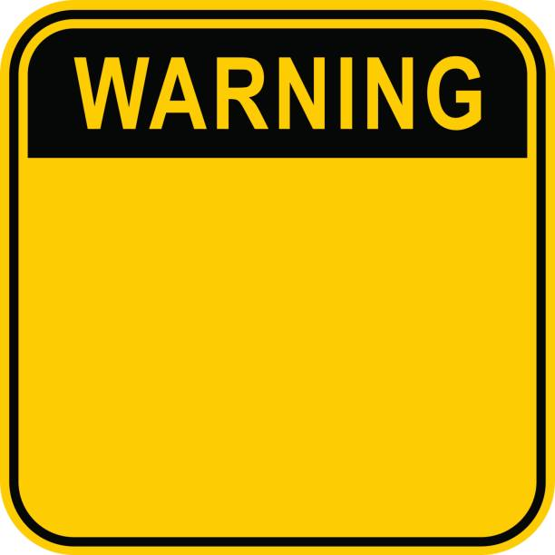 Sticker Warning Safety Sign Empty safety sign board with word warning. Sticker square-shaped painted in black and yellow colors. Quick and easy recolorable graphic element vector illustration warning symbol stock illustrations