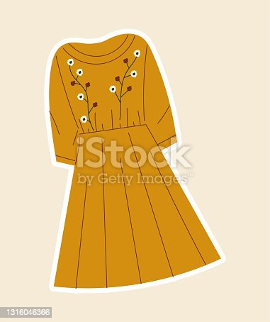 Sticker with beautiful yellow dress sewed with flowers on cloth