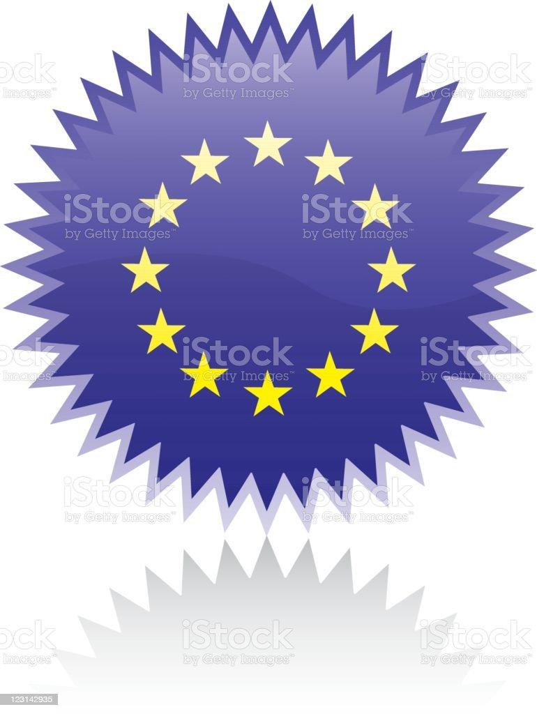 Sticker with EU flag vector art illustration